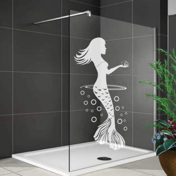 Duschdekorfolie Glasdekorfolie Meerjungfrau mit Muschel